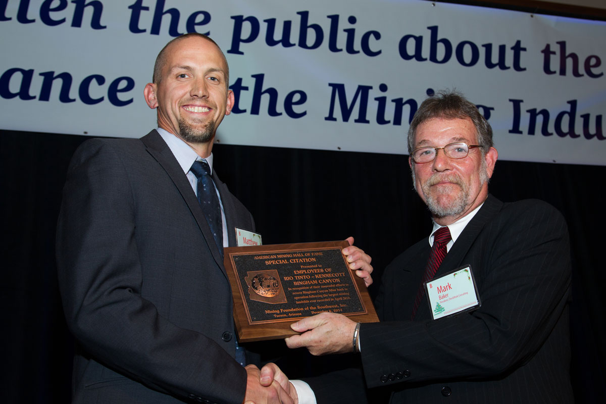 Mark Baker presents Matthew Lengerich Special Citation for Employees of Rio Tinto - Kennecott Bingham Canyon
