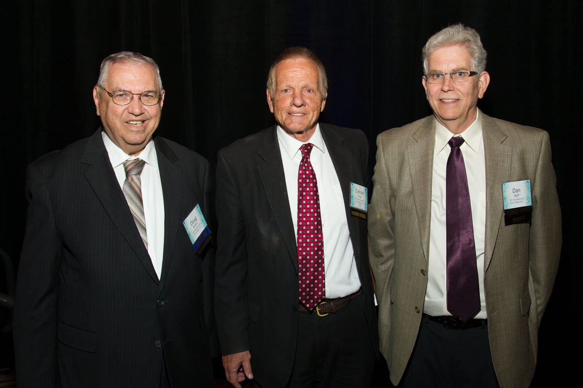 American Mining Hall of Fame Inductee, Conrad Huss flanked by fellow M3 Co-Founders, Doug Austin and Dan Neff