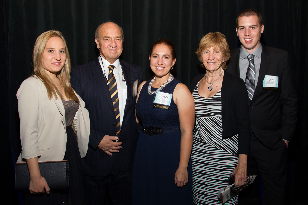 Medal of Merit recipient Fiorella Giana with sister, parents and husband, Cory Demieville